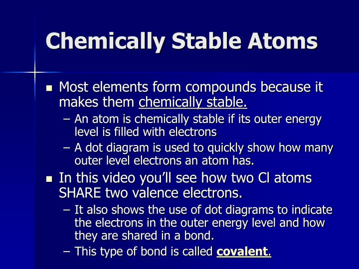 Chemically Stable Atoms