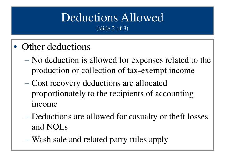Deductions Allowed