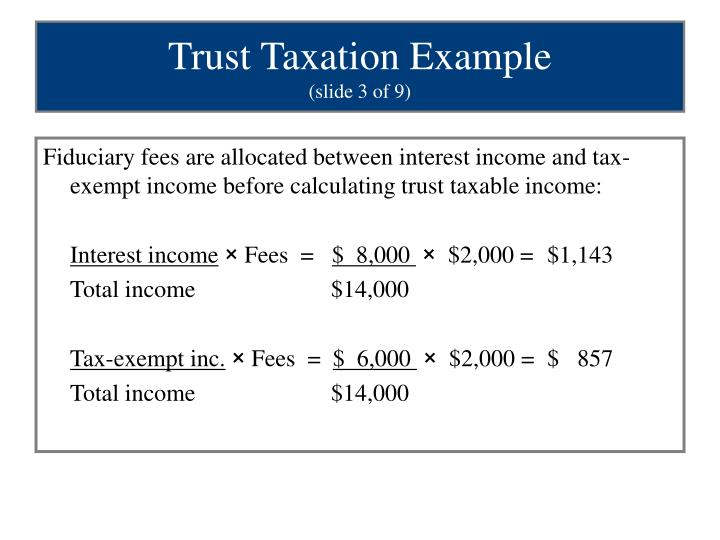 Fiduciary fees are allocated between interest income and tax-exempt income before calculating trust taxable income: