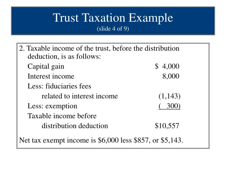 2. Taxable income of the trust, before the distribution deduction, is as follows: