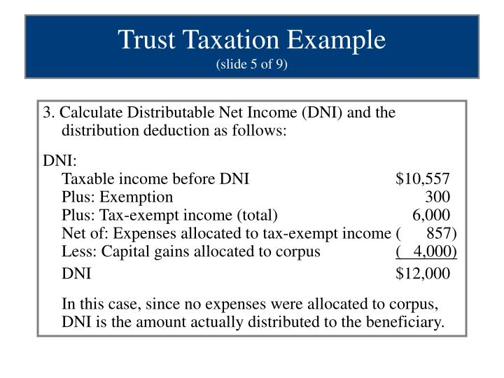 3. Calculate Distributable Net Income (DNI) and the distribution deduction as follows:
