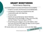 grant monitoring performance reporting