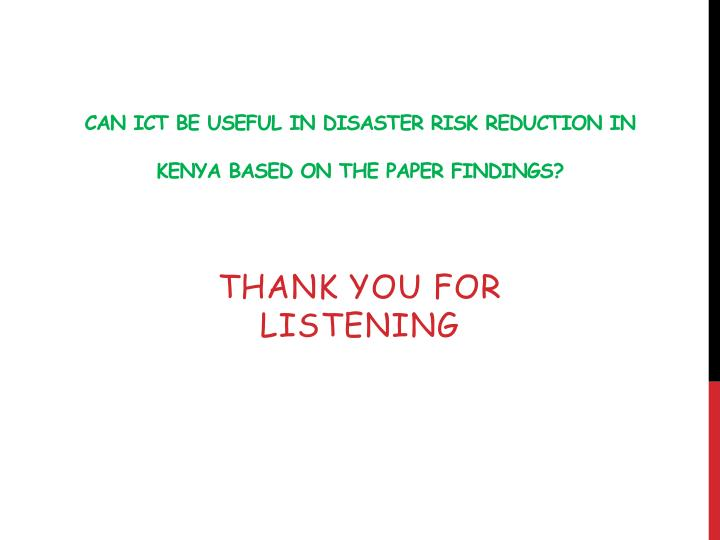 Can ICT be useful in Disaster Risk Reduction in