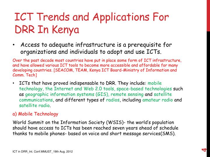 ICT Trends and Applications For DRR In Kenya