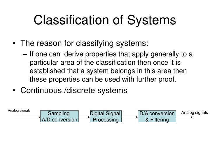 Classification of Systems