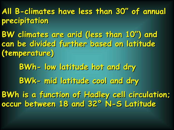 "All B-climates have less than 30"" of annual precipitation"