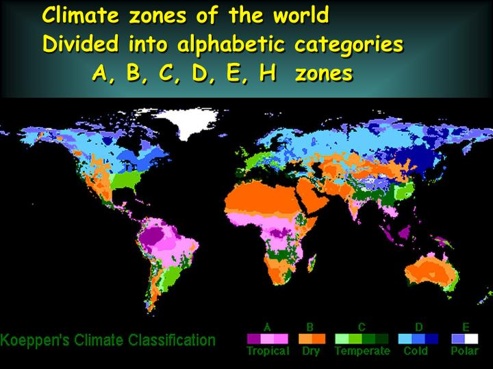 Climate zones of the world