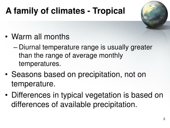 A family of climates tropical