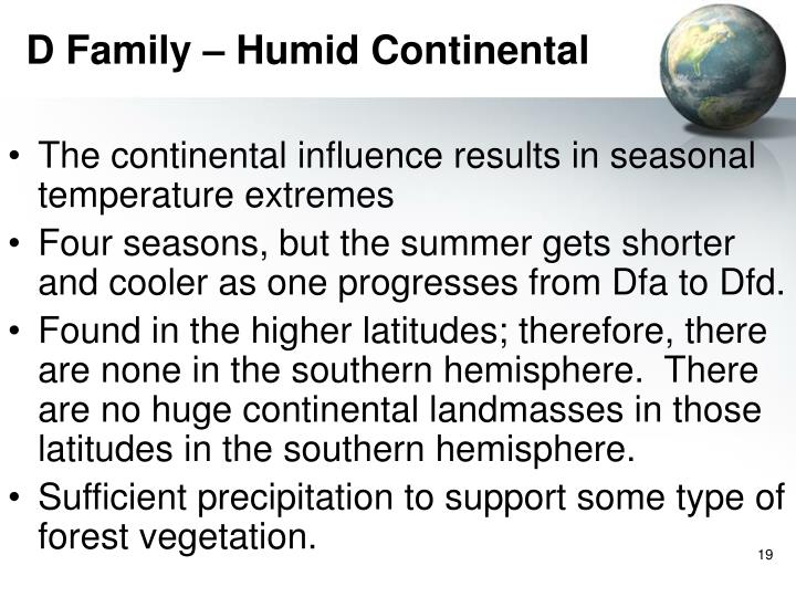D Family – Humid Continental