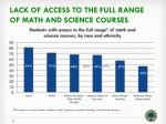 lack of access to the full range of math and science courses