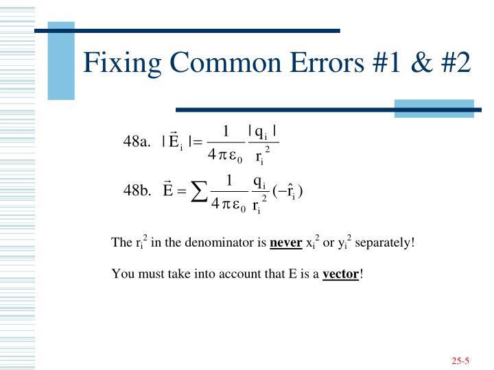 Fixing Common Errors #1 & #2