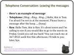 telephone conversation leaving the messages