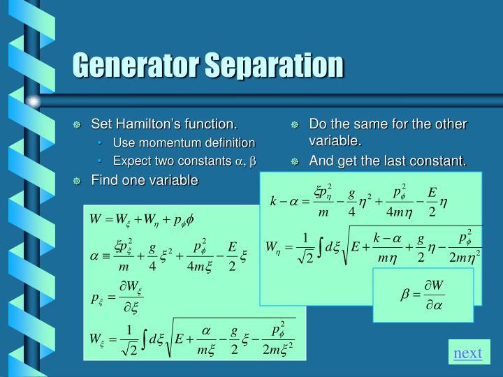 Set Hamilton's function.