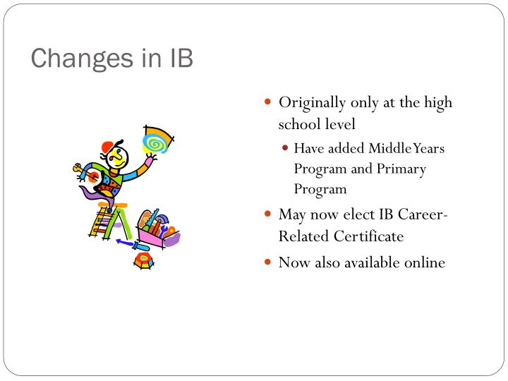 Changes in IB