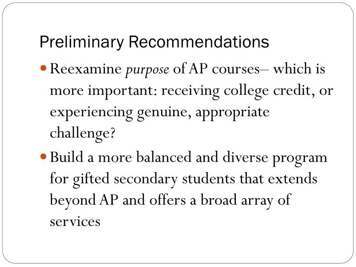 Preliminary Recommendations
