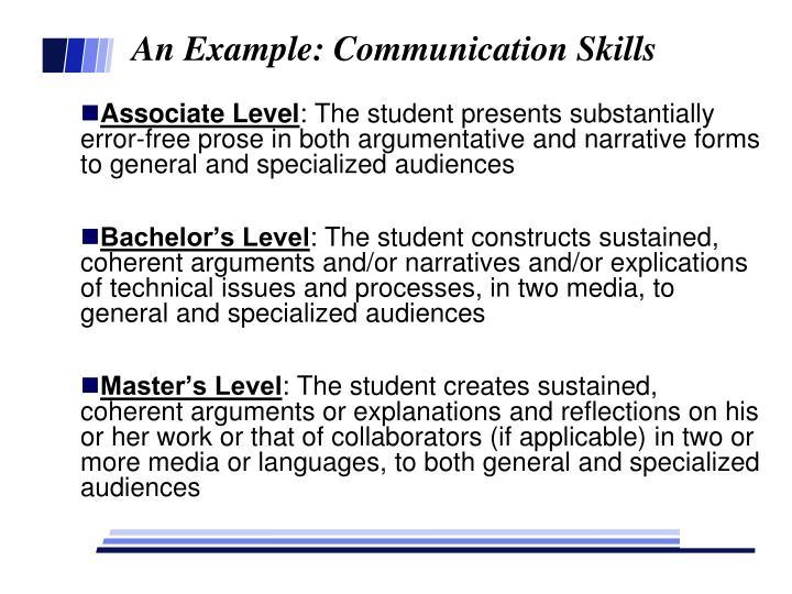 An Example: Communication Skills