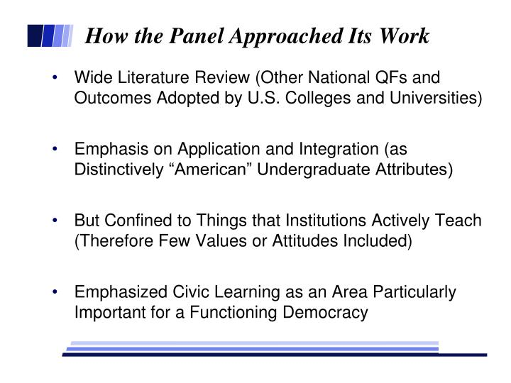 How the Panel Approached Its Work