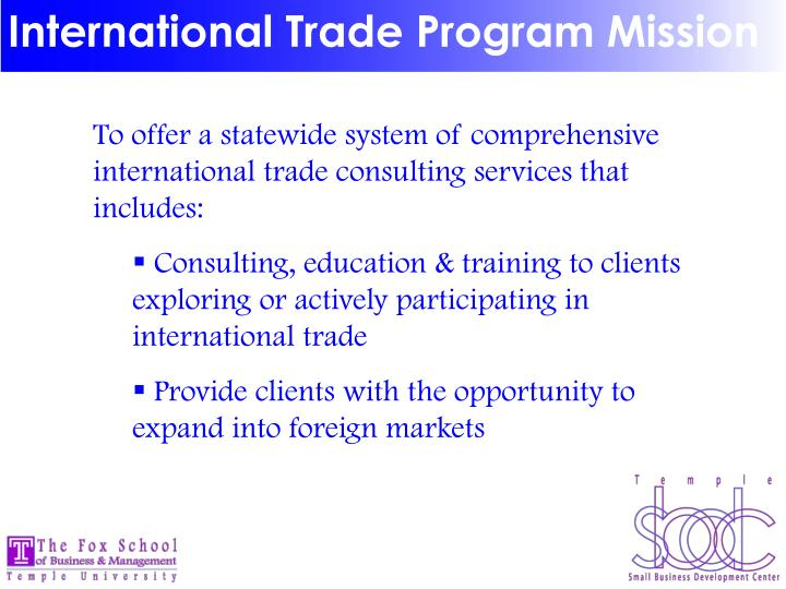 International Trade Program Mission