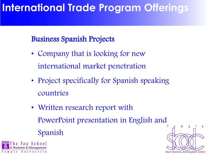 International Trade Program Offerings