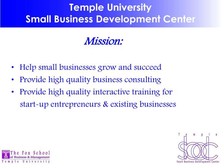 Temple university small business development center