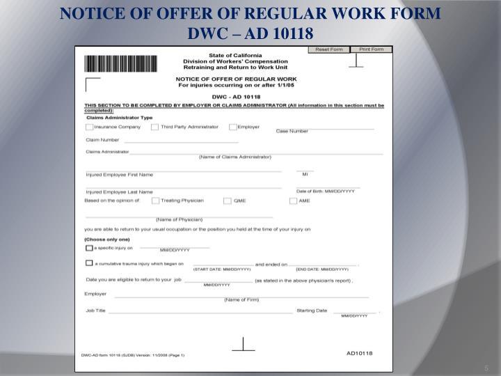 NOTICE OF OFFER OF REGULAR WORK FORM