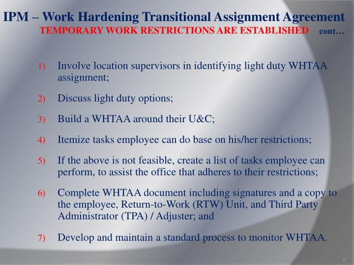 IPM – Work Hardening Transitional Assignment Agreement