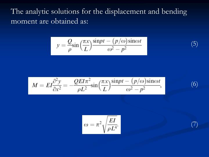 The analytic solutions for the displacement and bending moment are obtained as: