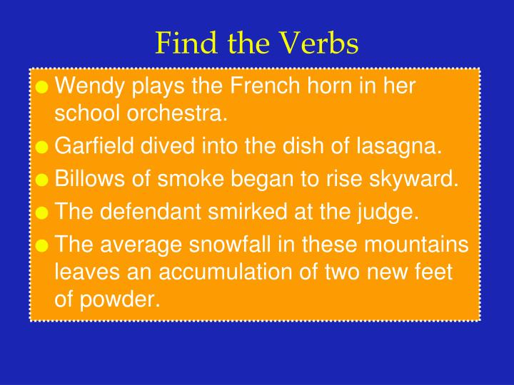 Find the verbs