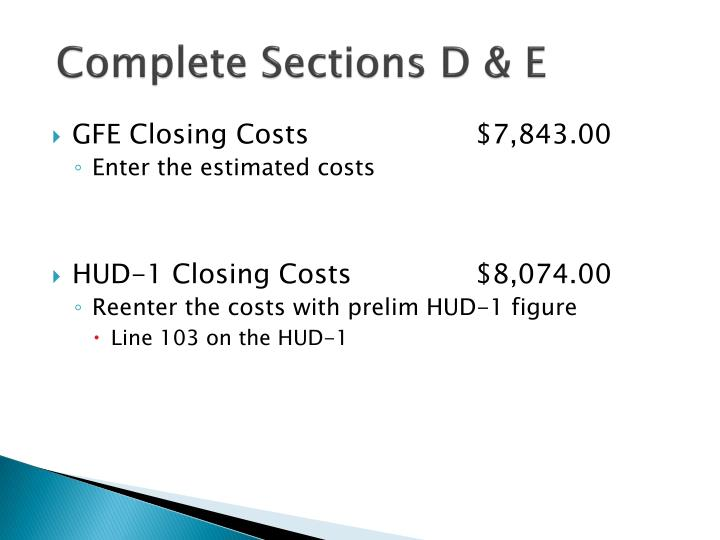 Complete Sections D & E