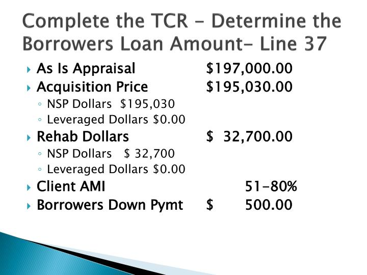 Complete the TCR -