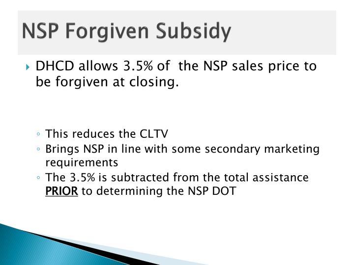 NSP Forgiven Subsidy