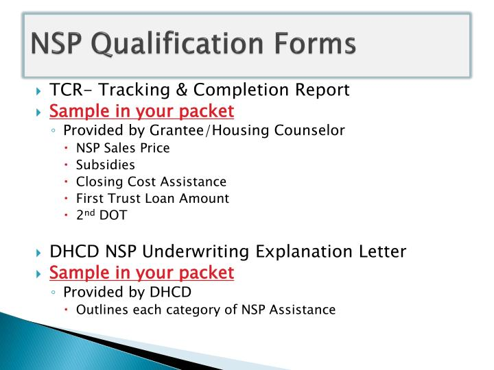 NSP Qualification Forms