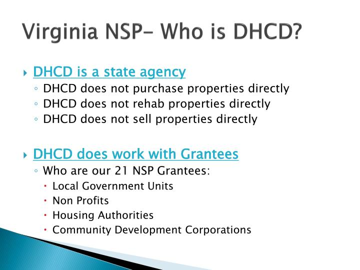 Virginia NSP- Who is DHCD?