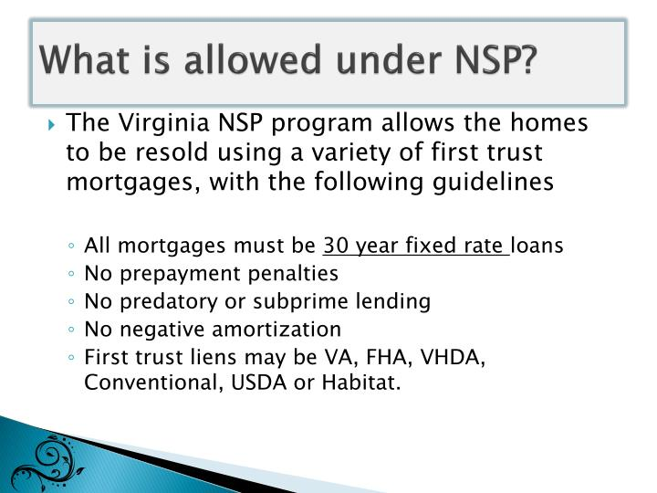 What is allowed under NSP?