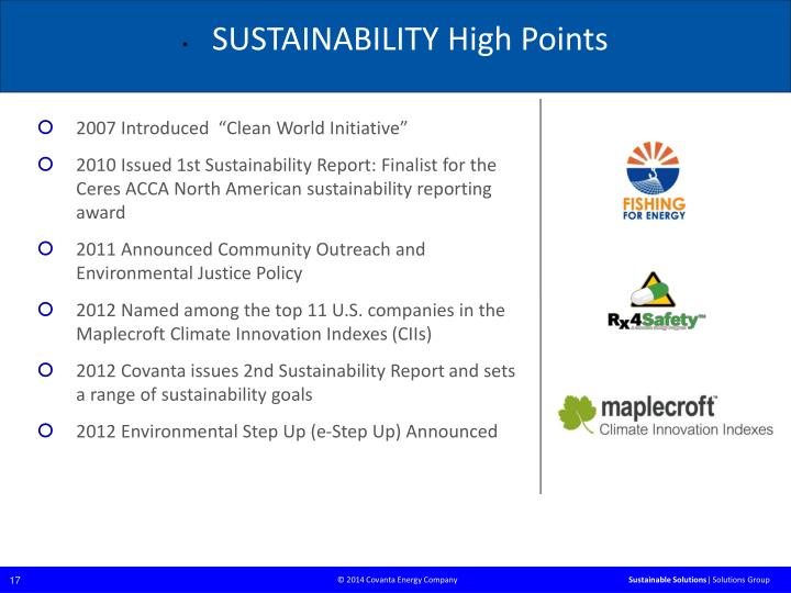 SUSTAINABILITY High Points