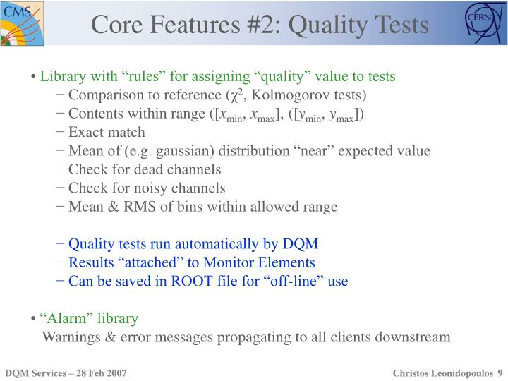 Core Features #2: Quality Tests