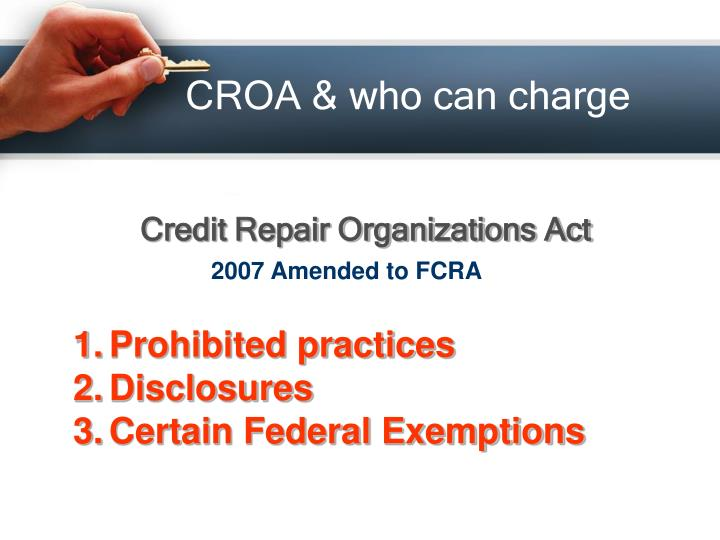 CROA & who can charge