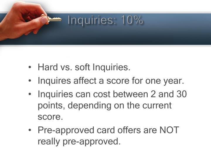Inquiries: 10%