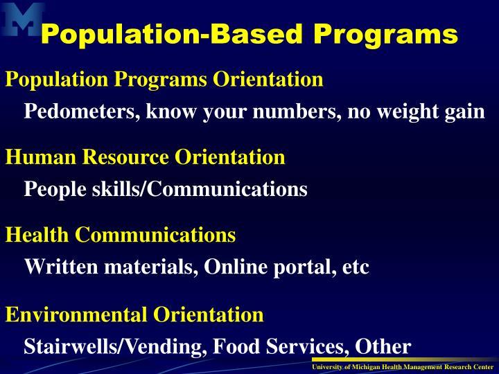 Population Programs Orientation