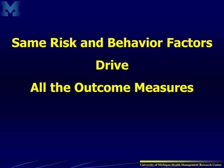 Same Risk and Behavior Factors