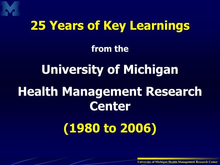 25 Years of Key Learnings
