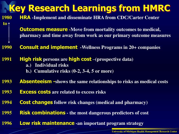Key Research Learnings from HMRC