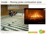 inside moving grate combustion zone
