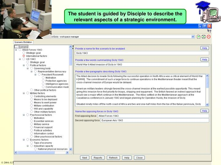 The student is guided by Disciple to describe the relevant aspects of a strategic environment.