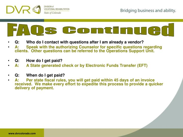 FAQs Continued