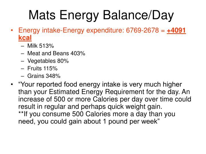 Mats Energy Balance/Day