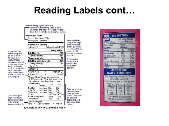 Reading Labels cont…