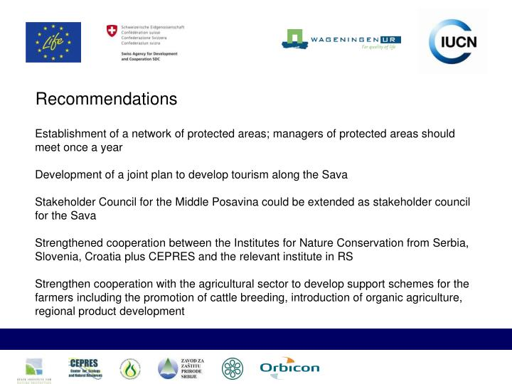 Establishment of a network of protected areas; managers of protected areas should meet once a year