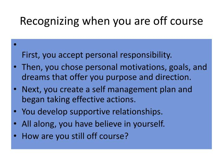 Recognizing when you are off course