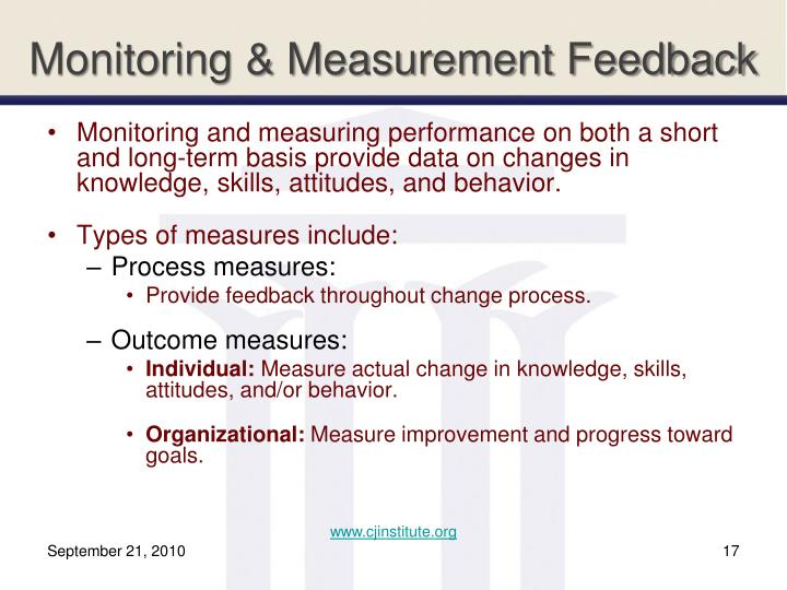 Monitoring & Measurement Feedback